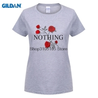 GILDAN Women Fashion Brand T Shirt Nothing Letter Print T Shirt Rose Harajuku T Shirt Women
