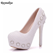 Women's Platform Wedding Shoes Luxury Thin High Heels Pumps 2018 Rhinestones Round Toe High Heels White Pearl Shoes XY-A0047 handmade women pumps princess shoes pearl rhinestones wedding shoes crystal adult ceremony super high heels xy a0044