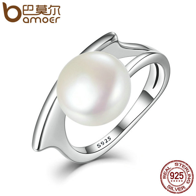 BAMOER Новая Коллекция Аутентичные 100% Стерлингового Серебра 925 Пресноводные Культивированный Жемчуг Кольца для Женщин Свадебные Украшения SCR034