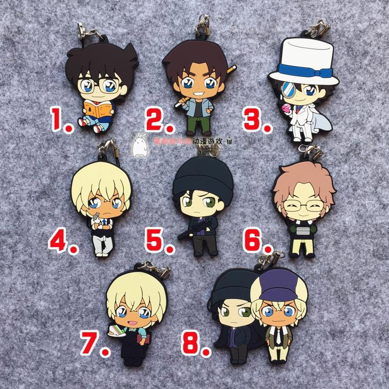 Conan Anime Detective Conan Jimmy Kudo Kaitou Kiddo Hattori Heiji K Ver Japanese Rubber Keychain 5pc conan action figure detective conan doll boxes high quality toy anime action figure garage kits gift of mini conan model