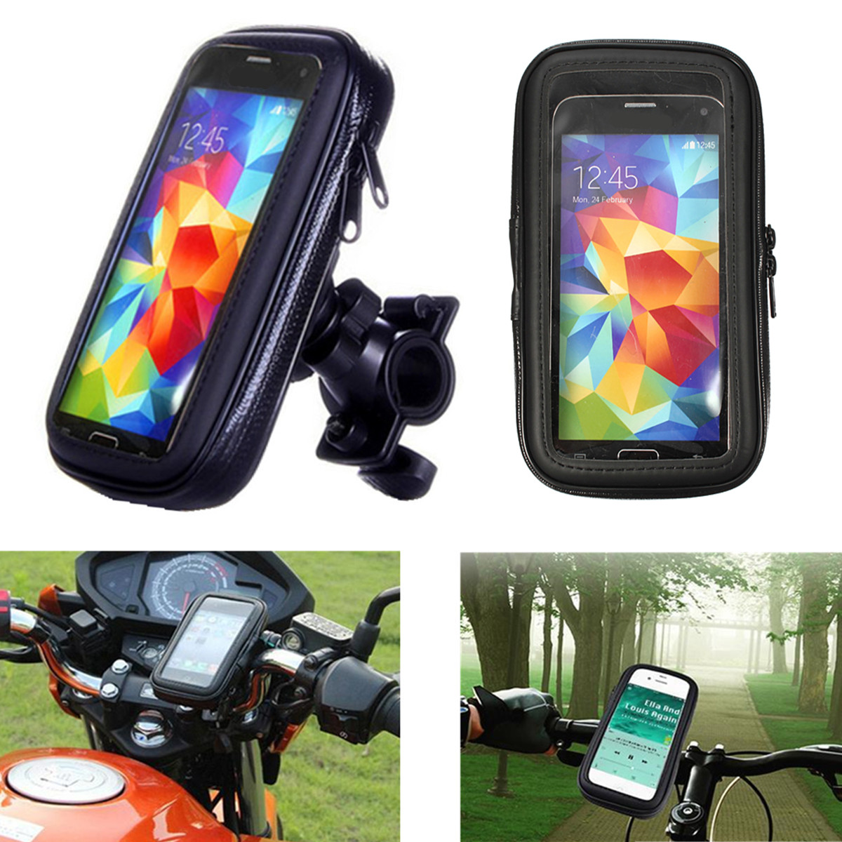 Aoile Bicycle Holder Mount for Cell Phone GPS Aluminum Motorcycle Bike Bicycle Holder Mount MTB Handlebar Black