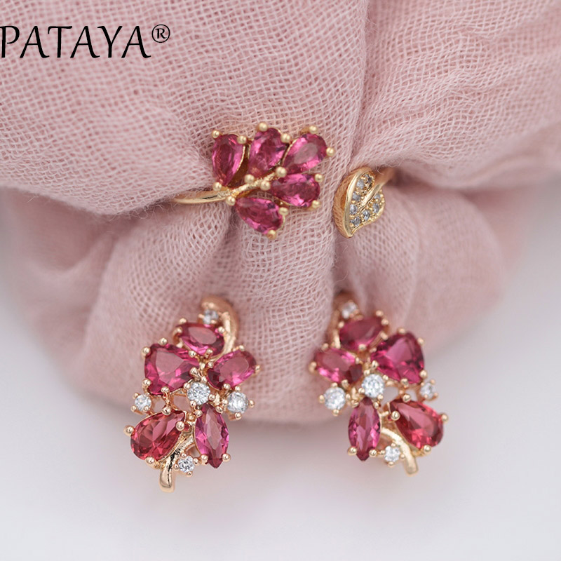 PATAYA Fashion Rose Red Water Drop Natural Zircon Earrings Up Open Rings Sets 585 Rose Gold Exclusive Design Women Fine Jewelry