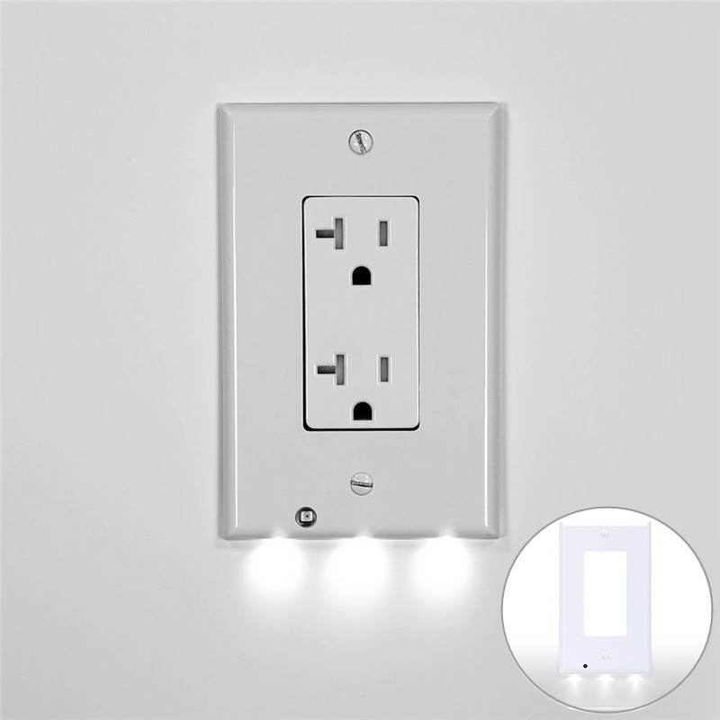 Wall Outlet Coverplate Led Plug Cover Light Sensor Night