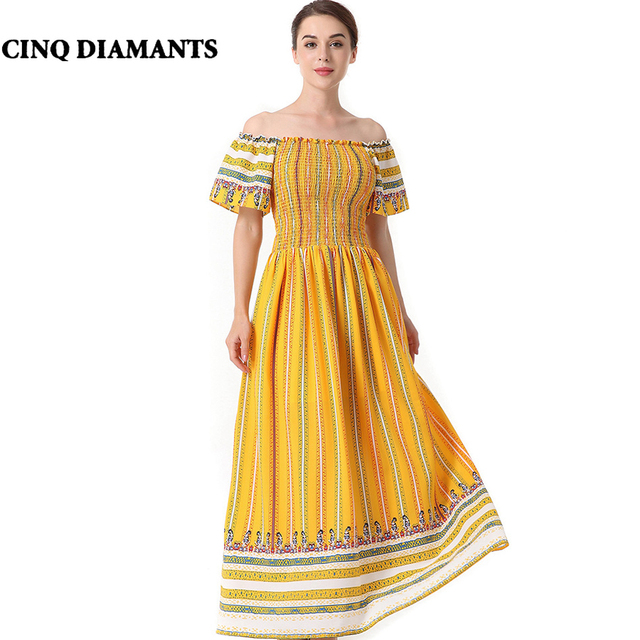 CINQ DIAMANTS off shoulder maxi dress women boho beach dress holiday yellow long  dress robe de plage abito da spiaggia sukienki c9fbb366998f