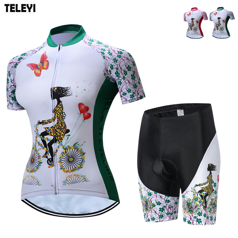 TELEYI Team 2018 Women's Cycling Clothing Ropa Ciclismo Cycling Kit Girls Bicycle Jersey and Shorts Suit Bike Jersey Clothes Set teleyi bike team racing cycling jersey spring long sleeve cycling clothing ropa ciclismo breathable bicycle clothes bike jersey
