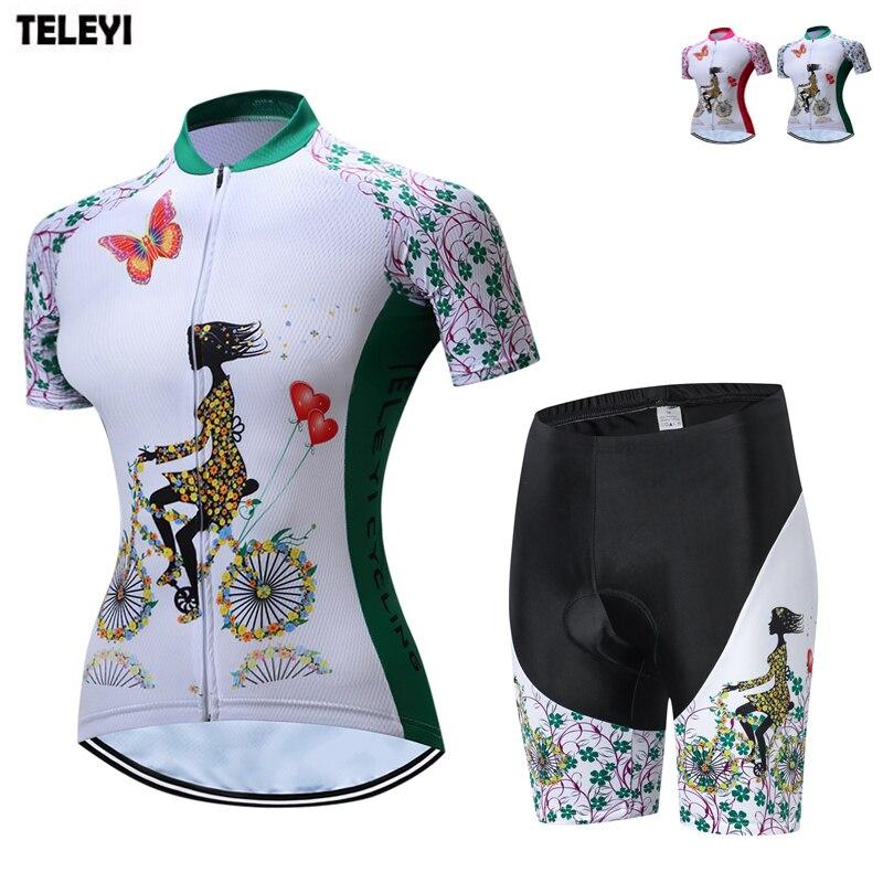 TELEYI Team 2018 frauen Radsportbekleidung Ropa Ciclismo Radfahren Kit Mädchen Fahrrad Jersey und Shorts Anzug Fahrrad Jersey Kleidung Set