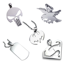 Stainless Steel Pendant SUPER HERO SKULL  Dog tag Batman Owl Pendant Necklace with free chain