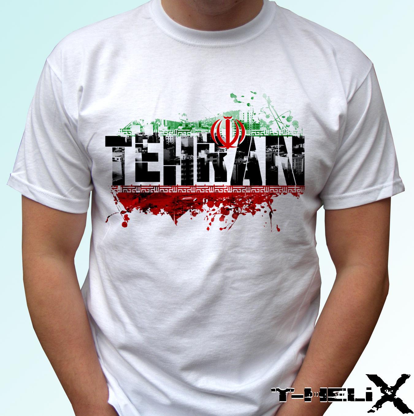 bddcbc3c2a17 2019 Fashion Round Neck Clothes Tehran Iran Flag - White T Shirt Top Tee  Design -