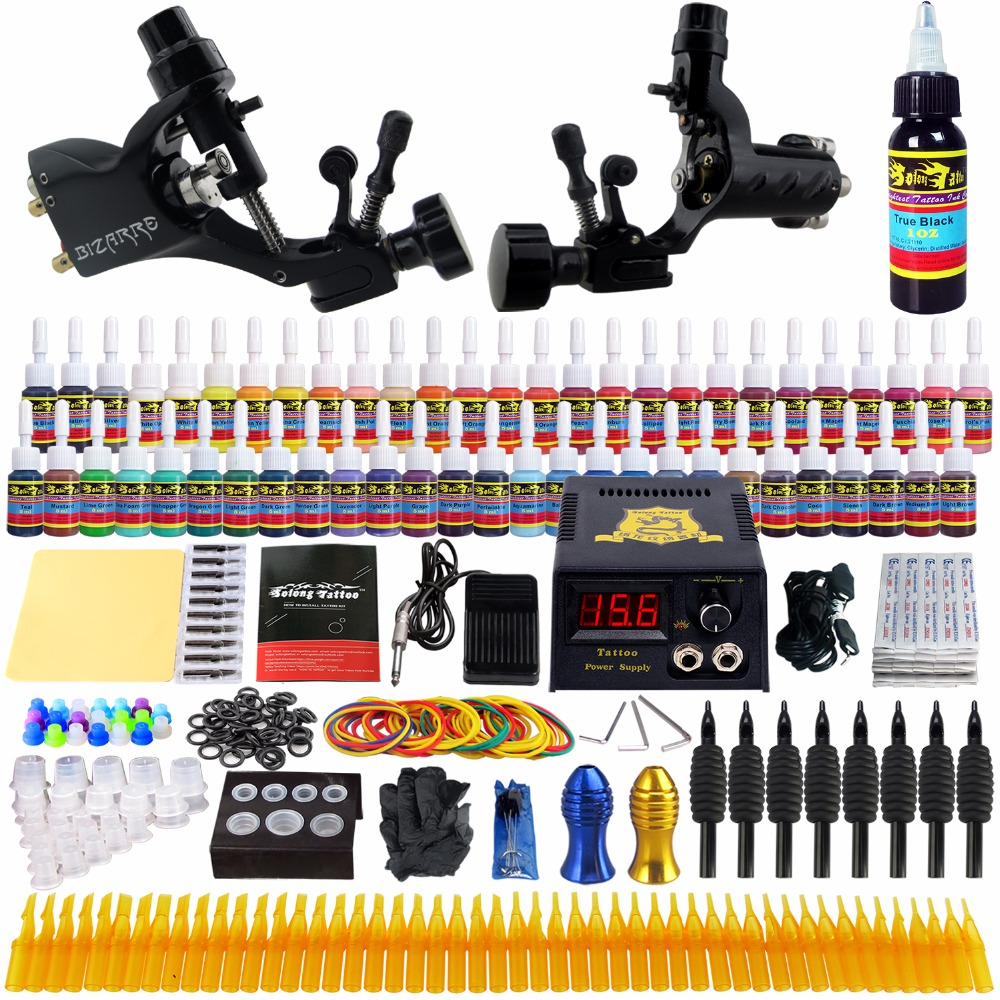 Professional Tattoo Kits 54 Inks Set Complete 2 Rotary Machines Guns Lining And Shading Power Supply Tattooes Needles TK255