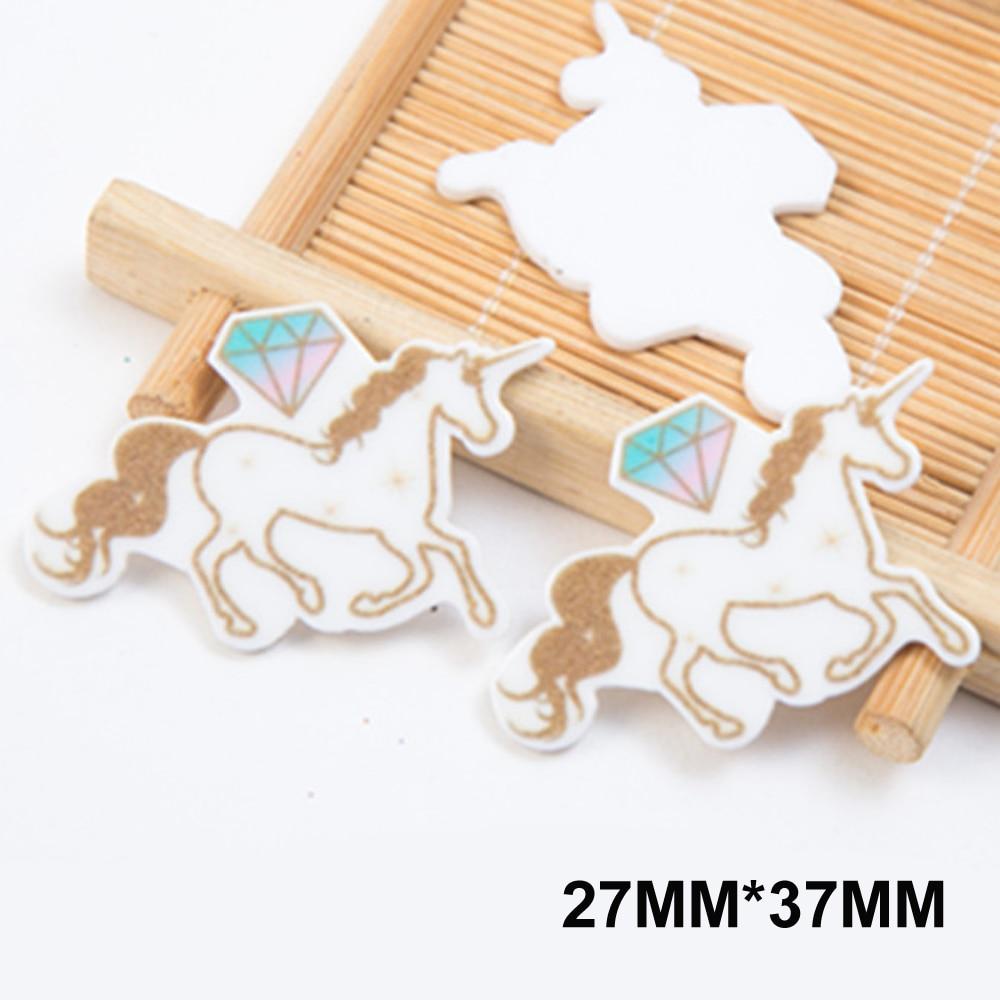 50pcs 27*37MM Cartoon Golden Diamond Unicorn Flatback Resin Cute Horse Planar Resin Cabochon DIY Craft Embellishments FR195