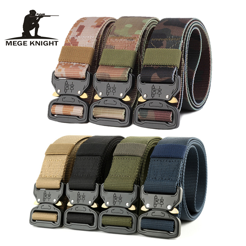 Military Tactical Belt Nylon Webbing Men Canvas Adjustable Waist Metal Buckle