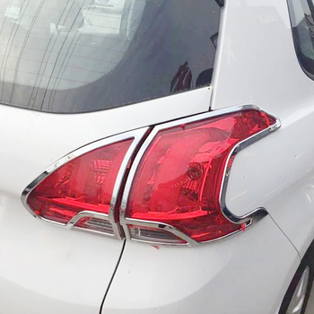 For Peugeot 2008 2014 2015 2016 2017 ABS Chrome After Rear Tail Lights Lamp Covers Frame Trim Car Quality Styling Sequins