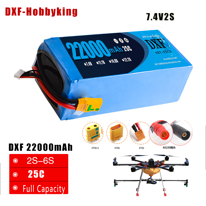 DXF Lipo  Drone FPV Battery 7.4V 22000mah 25C Max 50C Toys & Hobbies For Quadcopters Helicopters RC Models Li-polymer Battery jmp lipo battery 6s 6000mah lipo 22 2v battery pack 50c battery for helicopters rc models akku li polymer battery