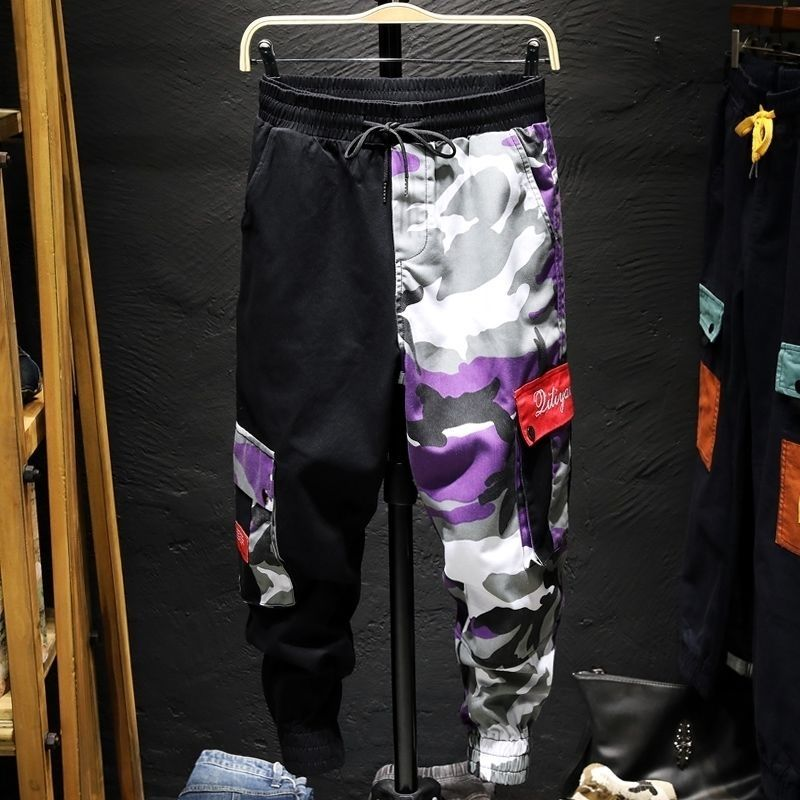 Cargo Pants Camouflage Men Patchwork Hip Hop Loose Joggers Pocket Streetwear Ankle Length Trousers Techwear