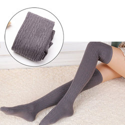 New Fashion Autumn Winter Women Wool Braid Over Knee Socks Thigh Highs Twist Hose Warm Stockings Chaussette Femme Meias