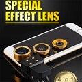 Kit 4en1 Linterna LED Con Clip de la Lente de La Cámara Del Teléfono 3in1 ojo de Pez lentes de gran angular y macro para samsung galaxy s3 s4 s5 s6 s7 borde