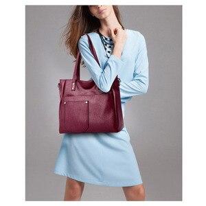 Image 3 - Yonder brand women bag genuine leather handbag ladies large tote bag high quality Sheepskin leather shoulder bag female Red Wine