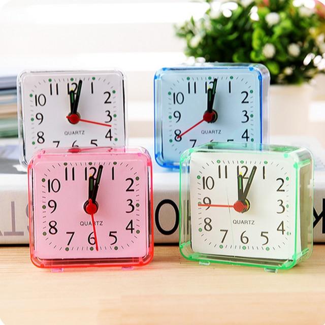 Hot Square Small Bed Alarm Clock Transparent Case Compact Travel Clock Mini Mute Children Student Desk Watch