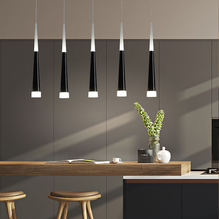 Led Pendant Lamp Dimmable Hanging Lamps Kitchen Island Dining Room Shop Bar Counter Decoration Cylinder Pipe Kitchen Lights