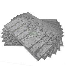 6 Teile/los Grau Blau PVC Esstisch Matte Wald Baum Bremsbeläge Schüssel Pad Setzern Wasserdicht Tischtuch Pad Slip-unterlage