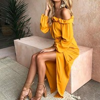 Autumn Spring Sexy Long Split The Fork Dress For Womens Holiday Belted Off Shoulder Long Sleeve