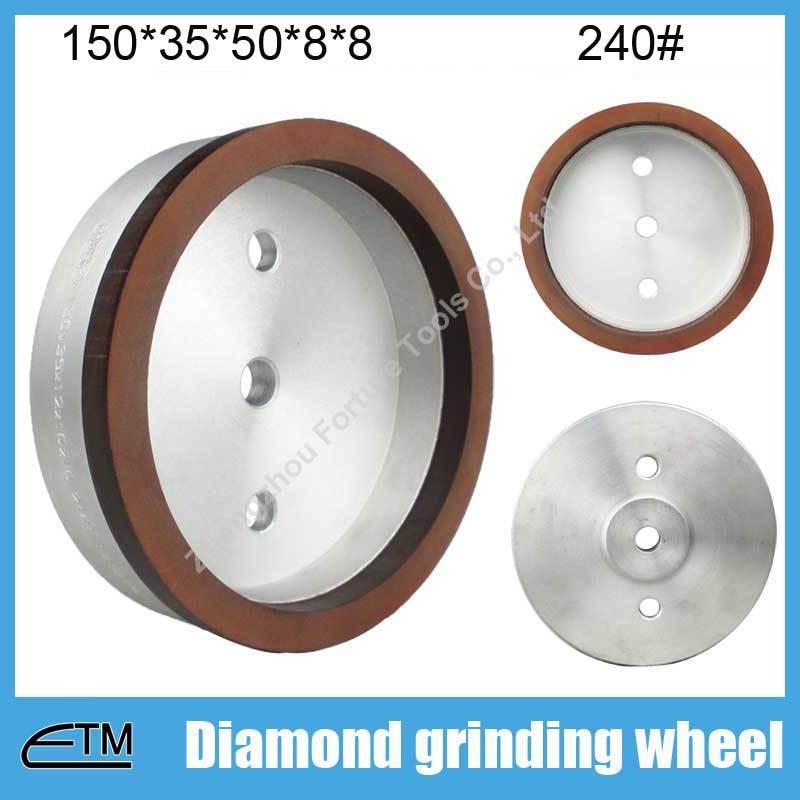 10pcs 4# full rim sintered resin bond diamond abasive tools for glass double edging machine 150*35*50*8*8 grit 240# BL045  цены