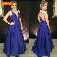 Fashion Royal Blue Evening Gowns Long Formal Dress 2019 Sexy Evening Dresses V Neck Satin Backless Guest Lovely Women Party Gown