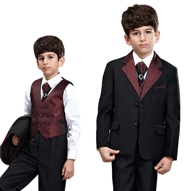 5PCS Toddler & Boys Formal Children Tuxedo Wedding Party Black Wine Suit sz 2-11 2 tuxedo