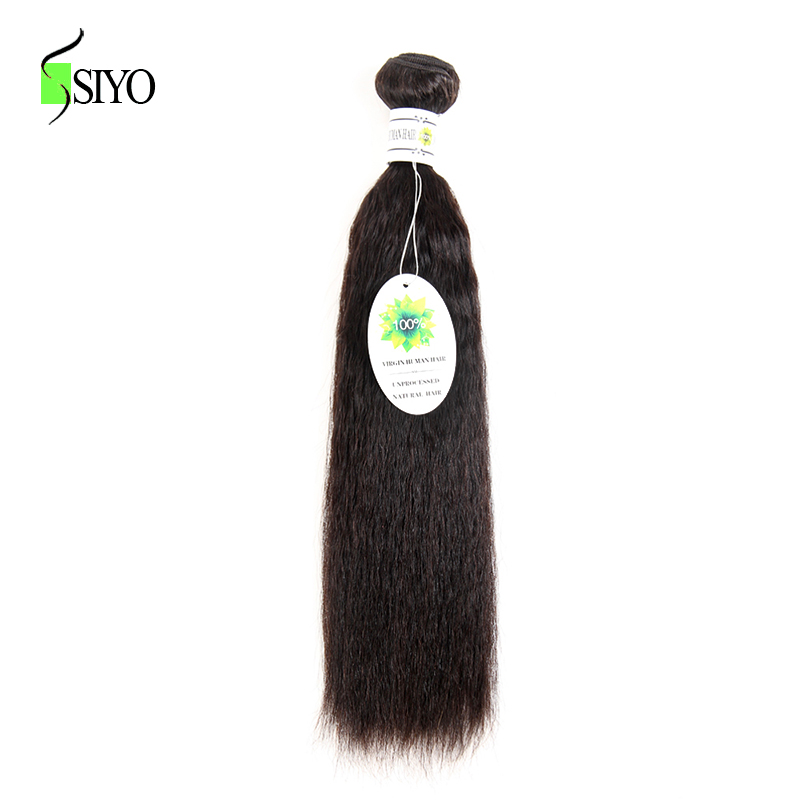 SIYO Hair Kinky Straight Peruvian Hair Bundles 100% Human Hair Weave Bundles 8-26Inch Non-Remy Hair Extension Natural Color 1 PC