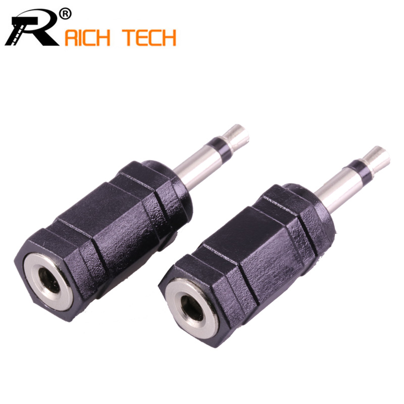3Pcs Jack 3.5 Female Stereo 3pole 3.5mm Jack Socket To 3.5 Mono Plug Connector Nickle Plated Plastic Earphone Adapter