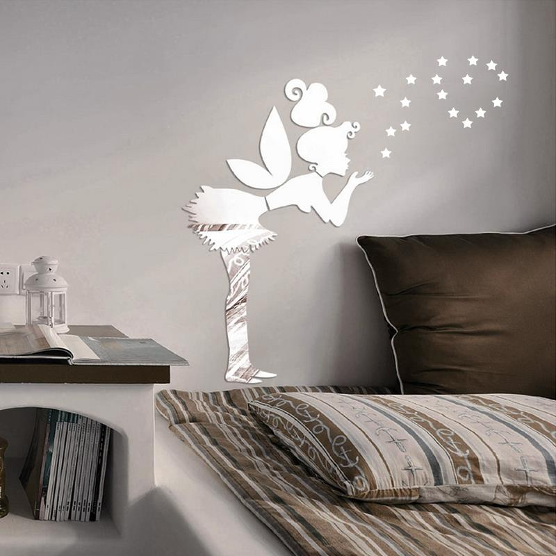 Diy Fairy With Stars Ps Wall Decal 1mm Thickness 3d Mirror Stickers 35 Stars Home Decor Kids Bedroom Decoration Free Shipping