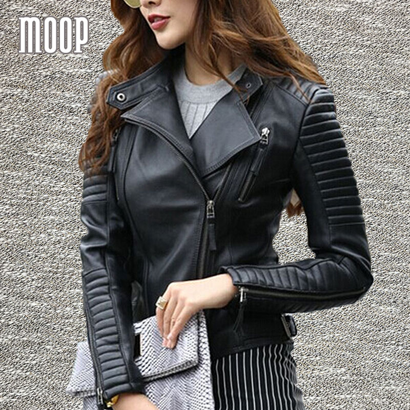 Black red genuine leather coat women motorcycle biker jackets grained sheepskin lamb croped quilted chaqueta mujer
