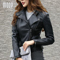 Black red genuine leather jackets women motorcycle jacket off-center zip placket 100%Lambskin coats croped feminino LT240