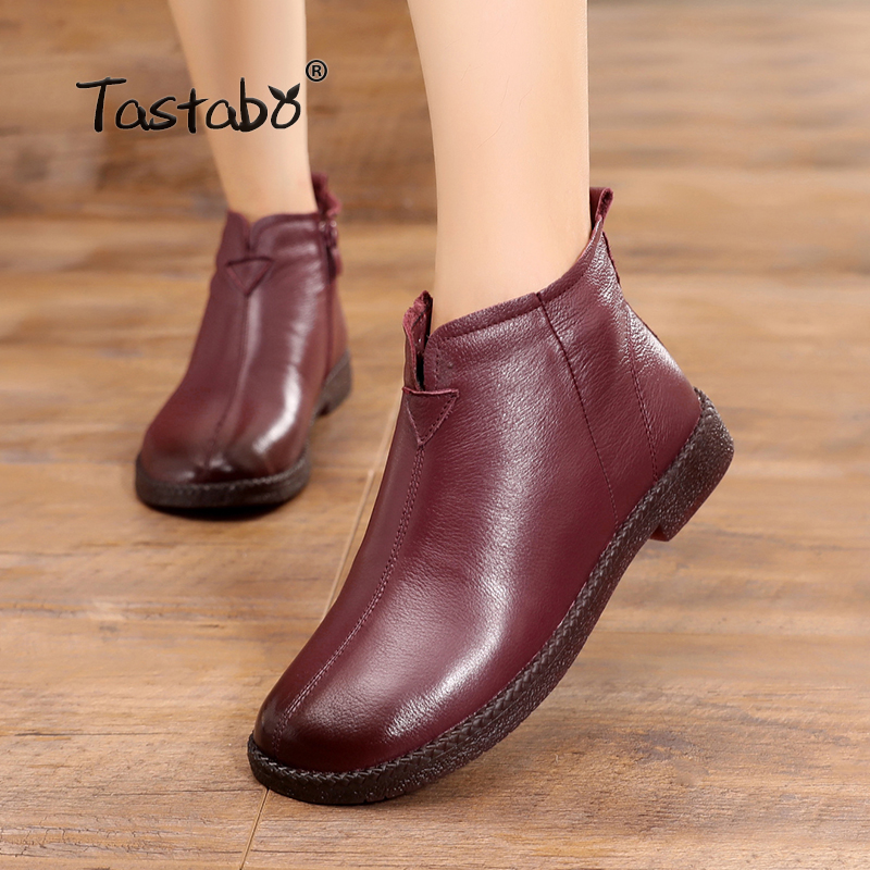 Tastabo Genuine Leather Winter Warm Boots for Women Casual Handmade Ankle Boots With Fur Retro Boots Women Ladies Shoes Flats shangmsh brand women s winter boots 2017 retro handmade genuine leather ankle boots soft casual ladies autumn shoes