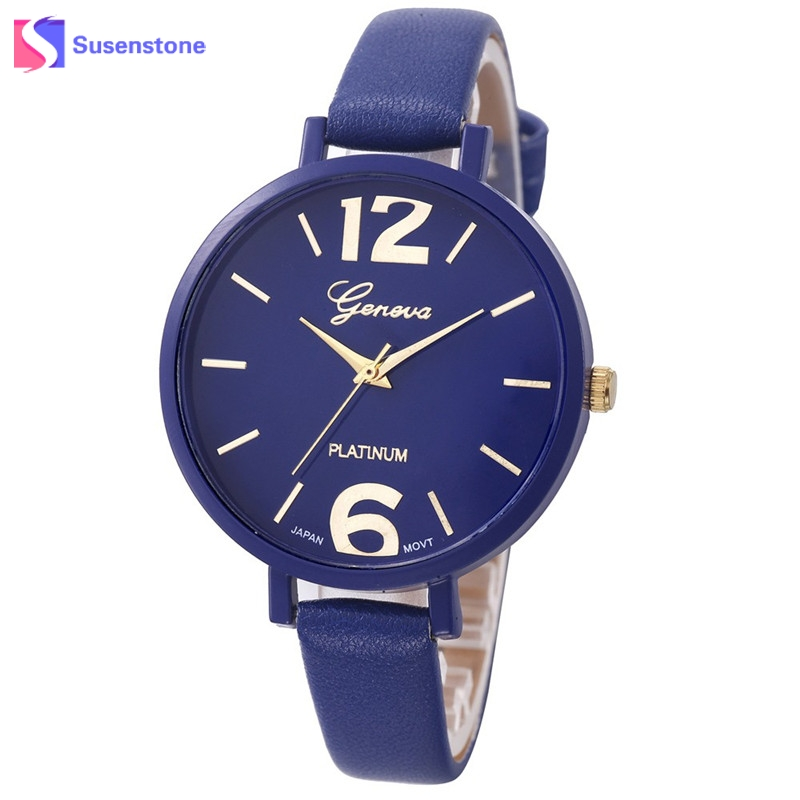 Women Watches 2017 Leather Starp Big Dial Female Analog Quartz Wrist Watch Ladies Casual Clock Relogio Feminino montre femme newly design dress ladies watches women leather analog clock women hour quartz wrist watch montre femme saat erkekler hot sale