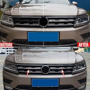 Image 2 - Chrome Front Mesh Grill Bumper Cover Voor Vw Tiguan Mk2 2016 2017 2020 Trim Insert Motorkap Garneer Molding Styling guard Protector