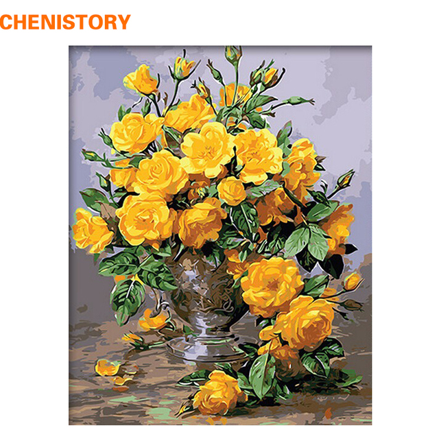 CHENISTORY Frameless Yellow Flowers DIY Painting By Numbers Modern ...