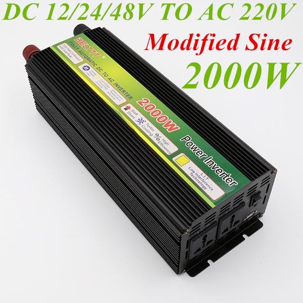 2000W Inverter DC 12V 24V 48V To AC 220V Modified Sine Wave Peak Power 4000W