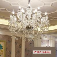 Hotel Hall White Crystal Lamp Chandelier Lighting For Living Room Dining Room French 6 28 Pcs