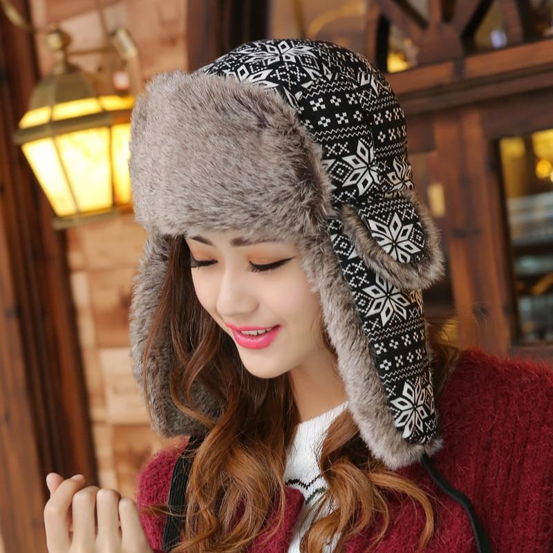 Print Russian Winter Hats Keep Warm Knitting Hat Fashion Fur Earmuff Thick  Snow Cap Outdoor Ski Cap Casual Women's Bomber Hats-Leather bag