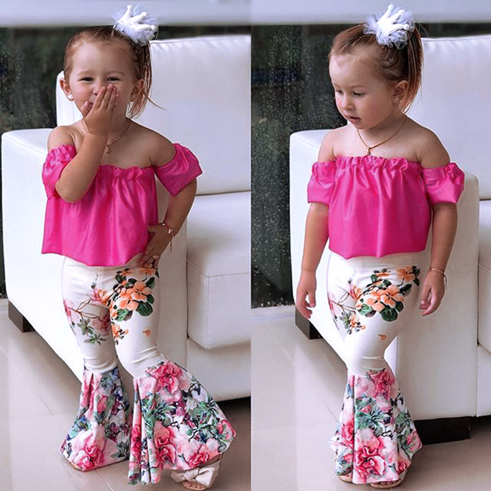 2Pcs girls sets summer children clothing Solid Off Shoulder girl Top+Floral Pants Suits for girls outfits Childhood clothes ...