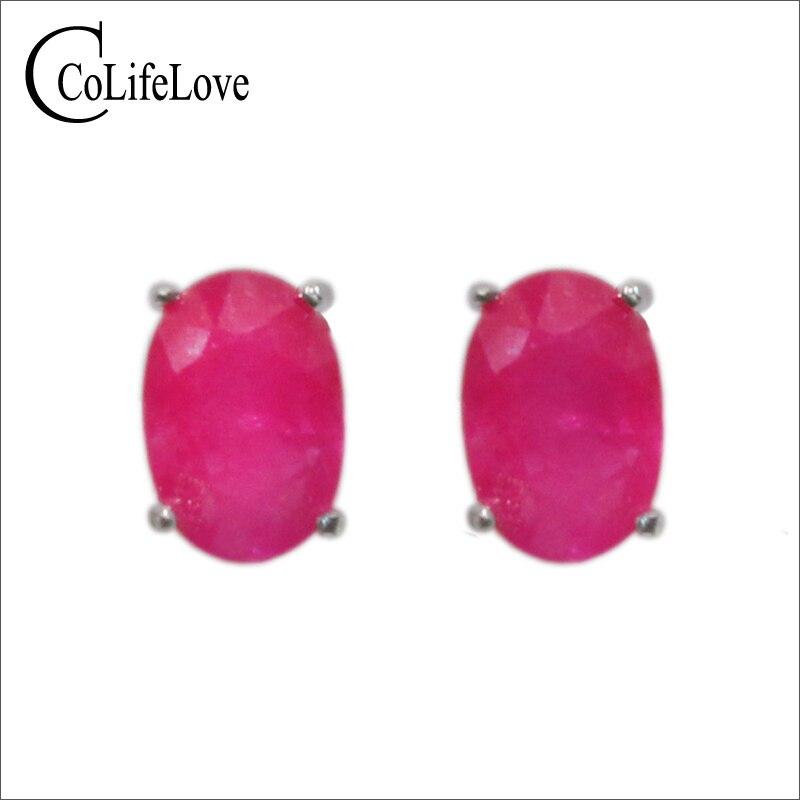 100 natural ruby silver earrings 4 mm 6 mm ruby stud earring simple 925 silver ruby