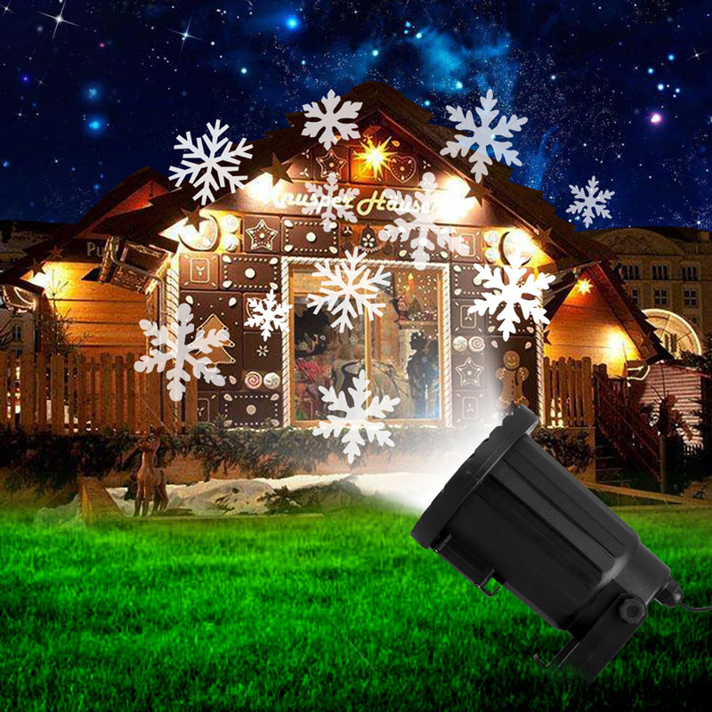 цена на New Year Moving Snowflake Laser Projector Waterproof LED Stage Light Christmas Outdoor Landscape Lighting Garden DJ Party Lamps