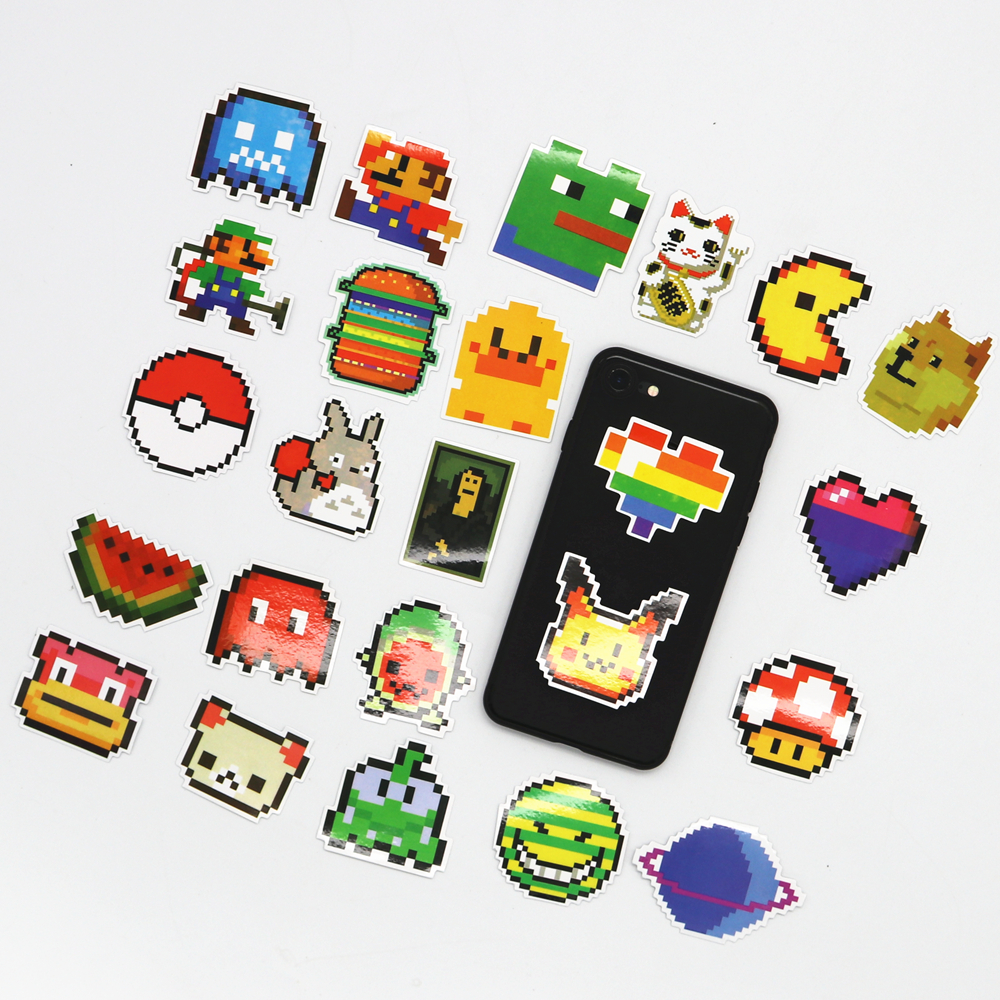 25pcs Mosaic Style Sticker Pixel Mario Game Sticker Luggage Case Cartoon Sticker