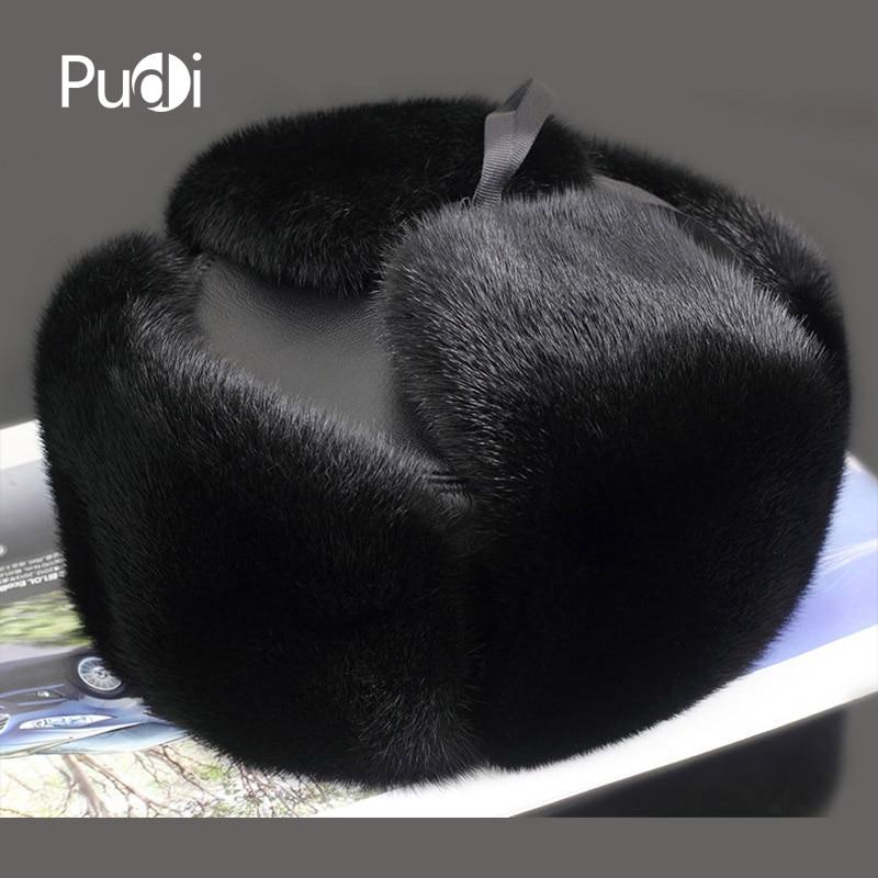Pudi 170758 Для мужчин, шапка из натурального меха норки, Для мужчин, норка, охотник на пушных зверей Кепки из натуральной овечьей кожи охотничья шляпа с капюшоном ушанкой