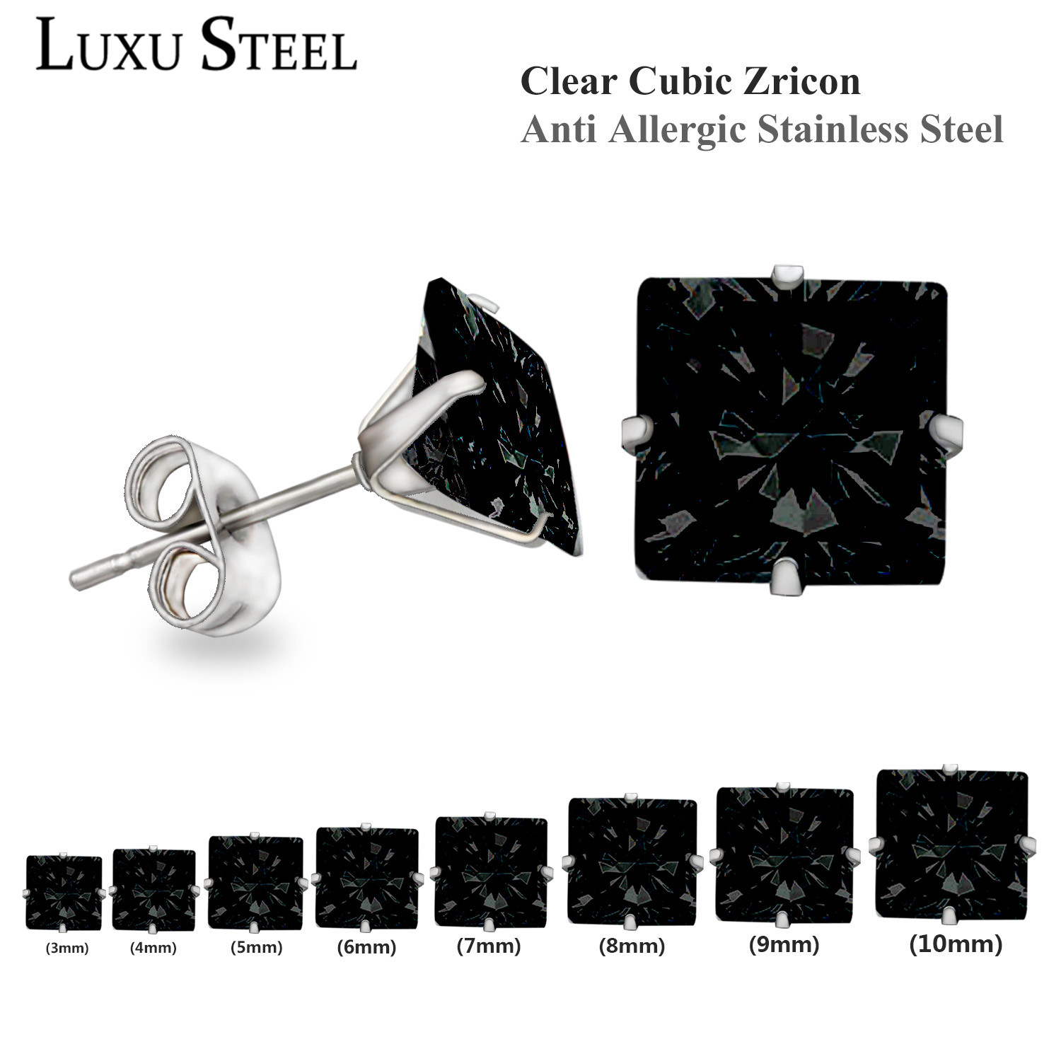 Stud Earrings,Brilliant Black Square Cut Cubic Zirconia Stainless Steel - Sizes 3mm To 10mm