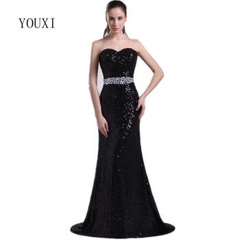 Sexy Sweetheart Black Sequin Mermaid Evening Dresses 2019 High Quality Long Formal Gowns