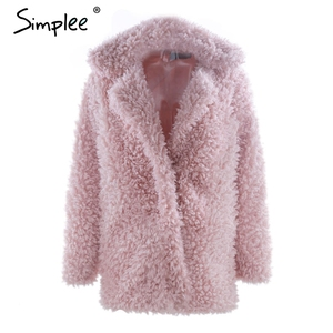 Image 5 - Simplee abrigo cálido de piel sintética para mujer, ropa de calle a la moda, abrigo largo de tallas grandes para mujer, abrigo informal rosa para otoño 2018