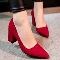 High Heels Shoes Women's Shoe 5.5cm Heeled Square Heel Top Quality Suede Leather Comfort Female Pumps Office Lady Spring/Fall
