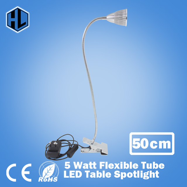 1pce frete grátis Flexível 50 cm Tubo estilo candeeiro de mesa de Alta Potência 5 W LED de iluminação de leitura lâmpadas de mesa